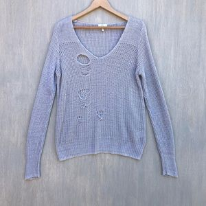 Joie distressed frayed linen sweater grey L